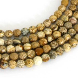 Shop Picture Jasper Faceted Beads! 4mm Picture Jasper Beads, Faceted Round Jasper, Scenic Jasper, Landscape Jasper, 4mm Faceted Round, Full 15 Inch Strand, Earth Tones, Jas214 | Natural genuine faceted Picture Jasper beads for beading and jewelry making.  #jewelry #beads #beadedjewelry #diyjewelry #jewelrymaking #beadstore #beading #affiliate #ad