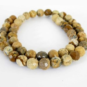 Shop Picture Jasper Faceted Beads! 8mm Picture Jasper Beads, Faceted Round Jasper, Scenic Jasper, Landscape Jasper, 8mm Faceted Round, Full 15 Inch Strand, Earth Tones, Jas220 | Natural genuine faceted Picture Jasper beads for beading and jewelry making.  #jewelry #beads #beadedjewelry #diyjewelry #jewelrymaking #beadstore #beading #affiliate #ad
