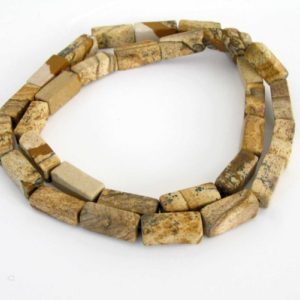 Shop Picture Jasper Bead Shapes! 14mm Picture Jasper Beads, Picture Jasper Square Rectangles, Scenic Jasper, Landscape Jasper, Full 16 Inch Strand, Earth Tones, Jas218 | Natural genuine other-shape Picture Jasper beads for beading and jewelry making.  #jewelry #beads #beadedjewelry #diyjewelry #jewelrymaking #beadstore #beading #affiliate #ad
