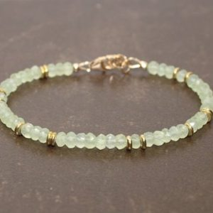 Prehnite Bracelet, Prehnite Jewelry, Brass, Beaded, Layering, Gemstone Jewelry | Natural genuine Prehnite bracelets. Buy crystal jewelry, handmade handcrafted artisan jewelry for women.  Unique handmade gift ideas. #jewelry #beadedbracelets #beadedjewelry #gift #shopping #handmadejewelry #fashion #style #product #bracelets #affiliate #ad