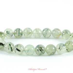 Shop Prehnite Bracelets! 9mm Prehnite Bracelet, Natural Prehnite Agate Bracelets 9 mm, Tourmalined Green Quartz Bracelets, Bead Bracelet, Prehnite Chakra Stones | Natural genuine Prehnite bracelets. Buy crystal jewelry, handmade handcrafted artisan jewelry for women.  Unique handmade gift ideas. #jewelry #beadedbracelets #beadedjewelry #gift #shopping #handmadejewelry #fashion #style #product #bracelets #affiliate #ad