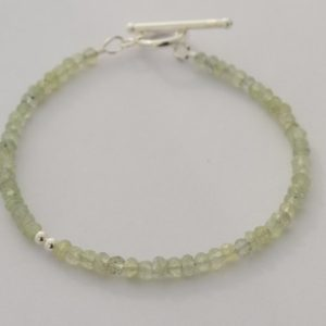 Shop Prehnite Bracelets! Prehnite Bracelet, Sterling Silver Beads, Gemstone Jewelry, Green Stones, Minimalist Bracelet, Sterling Silver Toggle Clasp, 7"