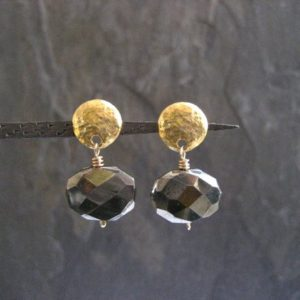 Shop Pyrite Earrings! Sparkly pyrite nugget earrings, shiny genuine gemstone drop, button studs with dangle, faceted oval shaped stone, handcrafted | Natural genuine gemstone jewelry in modern, chic, boho, elegant styles. Buy crystal handmade handcrafted artisan art jewelry & accessories. #jewelry #beaded #beadedjewelry #product #gifts #shopping #style #fashion #product