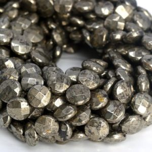 """Shop Pyrite Faceted Beads! 10x4MM Copper Pyrite Beads Faceted Flat Round Button AAA Genuine Natural Gemstone Half Strand Beads 7.5"""" BULK LOT 1,3,5,10,50 (104957h-1384) 