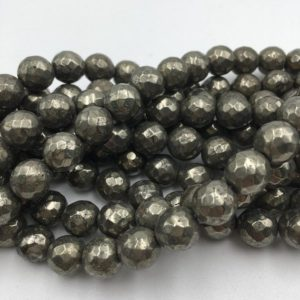 Shop Pyrite Beads! Faceted Pyrite Round Loose Beads Approx 15.5'' Long Size 6mm/8mm/10mm/12mm. R-F-PYR-0331 | Natural genuine beads Pyrite beads for beading and jewelry making.  #jewelry #beads #beadedjewelry #diyjewelry #jewelrymaking #beadstore #beading #affiliate #ad