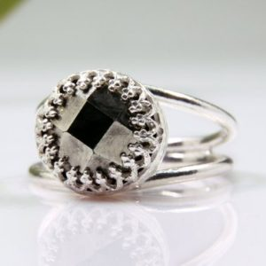 Shop Pyrite Jewelry! Silver pyrite ring,gemstone ring,powerful ring,bling ring,sparkling ring,wow ring,silver grey ring,stone ring,antiqu | Natural genuine Pyrite jewelry. Buy crystal jewelry, handmade handcrafted artisan jewelry for women.  Unique handmade gift ideas. #jewelry #beadedjewelry #beadedjewelry #gift #shopping #handmadejewelry #fashion #style #product #jewelry #affiliate #ad
