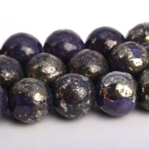 """Shop Pyrite Round Beads! 6MM Violet Pyrite Beads Grade AAA Natural Gemstone Round Loose Beads 15.5""""/ 7.5"""" Bulk Lot Options (104580) 