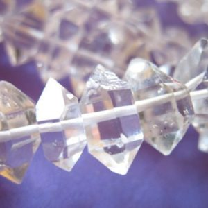 Shop Gemstone Chip & Nugget Beads! 5-50 pcs / 8-10 mm Herkimer Diamond Nuggets Crystals Quartz Beads Wholesale / Double Terminated, Luxe AAA, metaphysical healing nuggets m | Natural genuine chip Gemstone beads for beading and jewelry making.  #jewelry #beads #beadedjewelry #diyjewelry #jewelrymaking #beadstore #beading #affiliate #ad