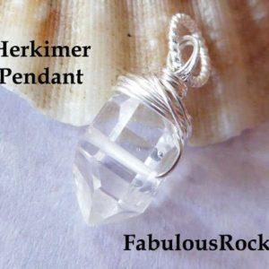 Shop Quartz Crystal Beads! Herkimer Diamonds Herkimers Bead Nugget Crystal Quartz /  Center Drilled Herkimer Necklace Pendant, april birthstone gd605 | Natural genuine beads Quartz beads for beading and jewelry making.  #jewelry #beads #beadedjewelry #diyjewelry #jewelrymaking #beadstore #beading #affiliate #ad