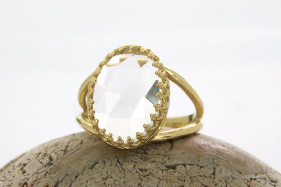 Clear Quartz Ring,reflective Ring,crystal Ring,gold Ring,crystal Quartz,white Quartz Ring,wedding Ring,solid Gold Ring,raw Crystal Ring