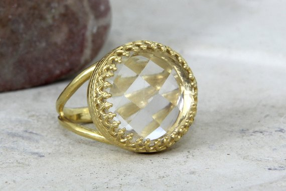 Crystal Quartz Ring,clear Quartz Ring,white Quartz Ring,gold Ring,bridal Ring,reflective Rings,stone Ring