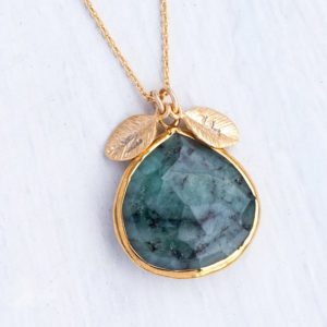 Shop Emerald Jewelry! Raw Emerald Necklace Gold, Custom Initial Necklace, Stamped Personalized Jewelry, Present for Mom, May Birthstone Necklace, NK-20 | Natural genuine Emerald jewelry. Buy crystal jewelry, handmade handcrafted artisan jewelry for women.  Unique handmade gift ideas. #jewelry #beadedjewelry #beadedjewelry #gift #shopping #handmadejewelry #fashion #style #product #jewelry #affiliate #ad