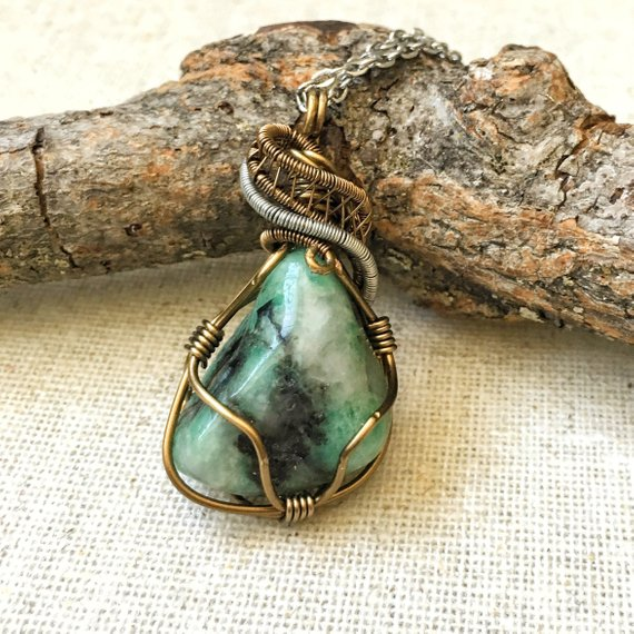 Emerald Necklace, Raw Gemstone Necklace, New Mom Gift