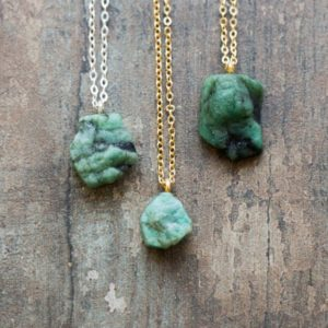Raw Emerald Necklace, May Birthstone Raw Stone Necklace, Crystal Gift Necklace For Her | Natural genuine Emerald necklaces. Buy crystal jewelry, handmade handcrafted artisan jewelry for women.  Unique handmade gift ideas. #jewelry #beadednecklaces #beadedjewelry #gift #shopping #handmadejewelry #fashion #style #product #necklaces #affiliate #ad