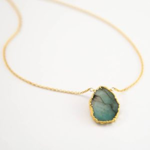 Raw Emerald Necklace, May Birthstone Jewelry, Gemstone Slice Pendant Necklace, Layered Necklaces, Boho Jewelry, NK-VS | Natural genuine Emerald jewelry. Buy crystal jewelry, handmade handcrafted artisan jewelry for women.  Unique handmade gift ideas. #jewelry #beadedjewelry #beadedjewelry #gift #shopping #handmadejewelry #fashion #style #product #jewelry #affiliate #ad
