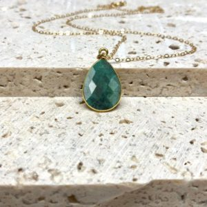 Raw Emerald Necklace, Natural Gemstone Necklace, May Birthstone Necklace, Green Stone Necklace, Handmade Jewelry, in 14kt Gold Fill, Silver | Natural genuine Array jewelry. Buy crystal jewelry, handmade handcrafted artisan jewelry for women.  Unique handmade gift ideas. #jewelry #beadedjewelry #beadedjewelry #gift #shopping #handmadejewelry #fashion #style #product #jewelry #affiliate #ad