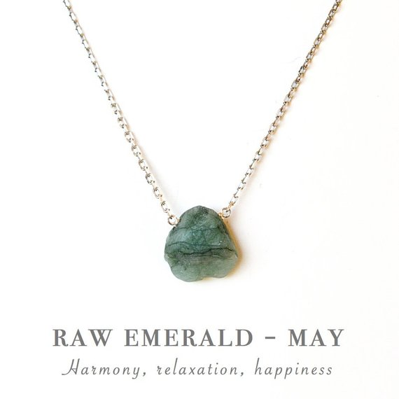 Raw Emerald Necklace - May Birthstone - Genuine Raw Stone - Natural Emerald Pendant In Gold, Rose Gold Or Sterling Silver. Gift For Women