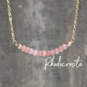 Rhodocrosite Necklace, Beaded Necklace, Girlfriend Gift For Her, Pink Necklace, Rhodocrosite Jewelry, Gemstone Bar Necklace, Chakra Necklace | Natural genuine Rhodochrosite necklaces. Buy crystal jewelry, handmade handcrafted artisan jewelry for women.  Unique handmade gift ideas. #jewelry #beadednecklaces #beadedjewelry #gift #shopping #handmadejewelry #fashion #style #product #necklaces #affiliate #ad