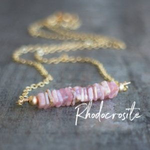 Rhodocrosite Necklace, Heart Chakra Necklace, Rhodocrosite Jewelry, Pink Bar Necklace, Healing Crystal Jewelry, Bridesmaid Gifts, Wife Gift | Natural genuine Rhodochrosite necklaces. Buy crystal jewelry, handmade handcrafted artisan jewelry for women.  Unique handmade gift ideas. #jewelry #beadednecklaces #beadedjewelry #gift #shopping #handmadejewelry #fashion #style #product #necklaces #affiliate #ad