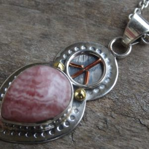 "Shop Rhodochrosite Pendants! Rhodochrosite Sterling silver 14K gold Pendant Necklace – 18"" Sterling silver Chain – Rhodochrosite pendant – Peace sign pendant – copper 