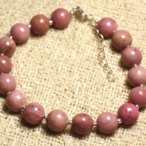 Shop Rhodonite Bracelets! Bracelet 925 sterling silver and gemstone – Rhodonite 8 mm | Natural genuine Rhodonite bracelets. Buy crystal jewelry, handmade handcrafted artisan jewelry for women.  Unique handmade gift ideas. #jewelry #beadedbracelets #beadedjewelry #gift #shopping #handmadejewelry #fashion #style #product #bracelets #affiliate #ad