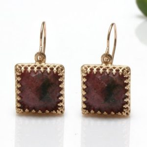 Shop Rhodonite Earrings! Rhodonite earrings,square earrings,gemstone earrings,dark pink earrings,dangle earrings,bridesmaid earrings | Natural genuine Rhodonite earrings. Buy crystal jewelry, handmade handcrafted artisan jewelry for women.  Unique handmade gift ideas. #jewelry #beadedearrings #beadedjewelry #gift #shopping #handmadejewelry #fashion #style #product #earrings #affiliate #ad