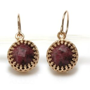 Small Stone Earrings, pink Rhodonite Earrings, gemstone Earrings, round Dangle Earrings, delicate Earrings | Natural genuine Rhodonite earrings. Buy crystal jewelry, handmade handcrafted artisan jewelry for women.  Unique handmade gift ideas. #jewelry #beadedearrings #beadedjewelry #gift #shopping #handmadejewelry #fashion #style #product #earrings #affiliate #ad