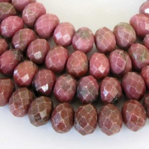 Shop Rhodonite Faceted Beads! 9.5mm Rhodonite Beads, Full Strand 9mm Faceted Rhodonite Beads, Rondelle Rhodonite Beads, Faceted Rondelle, Pink Gemstone Beads, Rho214 | Natural genuine faceted Rhodonite beads for beading and jewelry making.  #jewelry #beads #beadedjewelry #diyjewelry #jewelrymaking #beadstore #beading #affiliate #ad