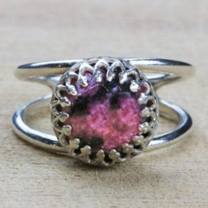 Rhodonite Ring, silver Ring, simple Stone Ring, everyday Ring, sterling Ring, fine Jewelry Rings, silver Rings, gemstone Ring | Natural genuine Rhodonite rings, simple unique handcrafted gemstone rings. #rings #jewelry #shopping #gift #handmade #fashion #style #affiliate #ad