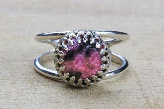 Rhodonite Ring,silver Ring,simple Stone Ring,everyday Ring,sterling Ring,fine Jewelry Rings,silver Rings,gemstone Ring