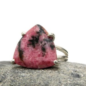 Rhodonite Ring, silver Ring, gemstone Ring, trillion Ring, silver Triangle Ring, prong Setting Ring, bridal Ring | Natural genuine Rhodonite rings, simple unique alternative gemstone engagement rings. #rings #jewelry #bridal #wedding #jewelryaccessories #engagementrings #weddingideas #affiliate #ad