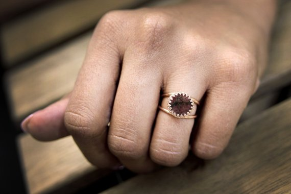 Delicate Stone Ring, Rhodonite Ring, Double Band Ring, Small Ring, Gemstone Ring, Precious Ring, Proposal Ring