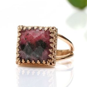 Rose Gold Ring, rhodonite Ring, gemstone Ring, square Ring, lace Ring, prong Ring, double Band Ring, split Band Ring | Natural genuine Rhodonite rings, simple unique handcrafted gemstone rings. #rings #jewelry #shopping #gift #handmade #fashion #style #affiliate #ad