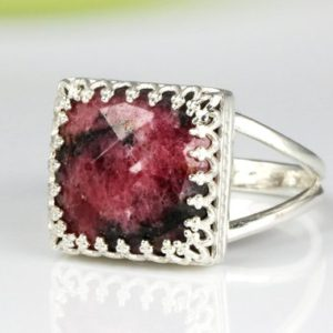 Shop Rhodonite Jewelry! Rhodonite ring,square ring,silver ring,pink ring,gemstone ring,engagement ring,birthstone ring | Natural genuine Rhodonite jewelry. Buy handcrafted artisan wedding jewelry.  Unique handmade bridal jewelry gift ideas. #jewelry #beadedjewelry #gift #crystaljewelry #shopping #handmadejewelry #wedding #bridal #jewelry #affiliate #ad