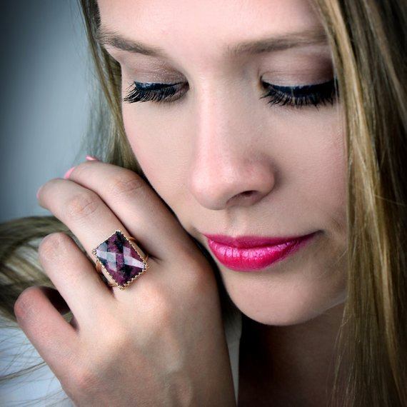 Statement Ring, Rhodonite Ring, Rectangle Ring, Rose Gold Ring, Gemstone Ring, Wow Ring, Dark Pink Ring, Rose Gold Filled R