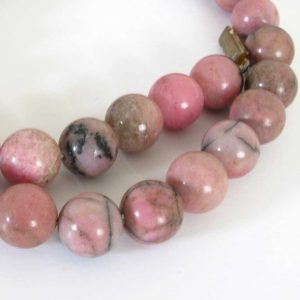 Shop Rhodonite Round Beads! 10mm Rhodonite Beads – 10 Beads, 10mm Round Rhodonite Beads, Pink Gemstone Beads, Black And Pink, Rho212 | Natural genuine round Rhodonite beads for beading and jewelry making.  #jewelry #beads #beadedjewelry #diyjewelry #jewelrymaking #beadstore #beading #affiliate