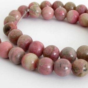 Shop Rhodonite Round Beads! 10mm Rhodonite Beads, 10mm Round Rhodonite Beads, Pink Gemstone Beads, Full Strand, 15 Inch Strand, Rho208 | Natural genuine round Rhodonite beads for beading and jewelry making.  #jewelry #beads #beadedjewelry #diyjewelry #jewelrymaking #beadstore #beading #affiliate #ad