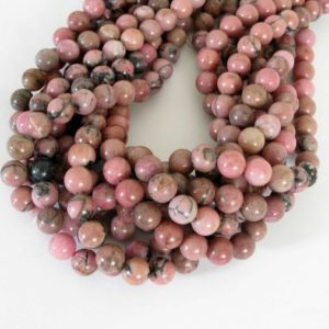 Shop Rhodonite Round Beads! 10mm Rhodonite Beads, 10mm Round Rhodonite Beads, Pink Gemstone Beads, Full Strand, Black And Pink, 15 Inch Strand, Rho212 | Natural genuine round Rhodonite beads for beading and jewelry making.  #jewelry #beads #beadedjewelry #diyjewelry #jewelrymaking #beadstore #beading #affiliate