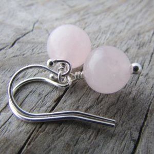 Shop Rose Quartz Earrings! Rose Quartz Earrings, Small, Round Stone Dangle Earrings | Natural genuine Rose Quartz earrings. Buy crystal jewelry, handmade handcrafted artisan jewelry for women.  Unique handmade gift ideas. #jewelry #beadedearrings #beadedjewelry #gift #shopping #handmadejewelry #fashion #style #product #earrings #affiliate #ad