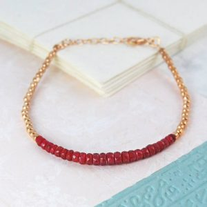 Rose Gold Bracelet, Ruby Bracelet, Red Gemstone Bracelet, Red Bracelet, Gemstone Bracelet, Friendship Bracelet, Silver Gemstone Bracelet | Natural genuine Array bracelets. Buy crystal jewelry, handmade handcrafted artisan jewelry for women.  Unique handmade gift ideas. #jewelry #beadedbracelets #beadedjewelry #gift #shopping #handmadejewelry #fashion #style #product #bracelets #affiliate #ad