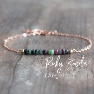 Ruby Zoisite Bracelet In Silver, Rose Gold Or Gold Filled | Natural genuine Ruby Zoisite bracelets. Buy crystal jewelry, handmade handcrafted artisan jewelry for women.  Unique handmade gift ideas. #jewelry #beadedbracelets #beadedjewelry #gift #shopping #handmadejewelry #fashion #style #product #bracelets #affiliate #ad