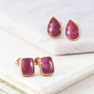 Shop Ruby Earrings! Rose Gold Ruby Earrings, Ruby Stud Earrings, Geometric Gemstone Earrings, Rose Gold Studs, Precious Gemstone Studs, Red Geometric Earrings | Natural genuine Ruby earrings. Buy crystal jewelry, handmade handcrafted artisan jewelry for women.  Unique handmade gift ideas. #jewelry #beadedearrings #beadedjewelry #gift #shopping #handmadejewelry #fashion #style #product #earrings #affiliate #ad