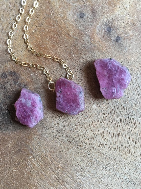Raw Ruby Necklace - July Birthstone Necklace - Raw Crystal Necklace - Ruby Jewelry - July Birthstone - Crystal Necklace - Gift For Her