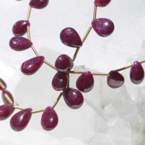 Shop Ruby Bead Shapes! Natural Ruby Graduating Smooth Flat Drop Beads 10 In. Full Strand, 91cts Quality Natural Ruby, Corundum Beads, Smooth Briolette Drop Beads | Natural genuine other-shape Ruby beads for beading and jewelry making.  #jewelry #beads #beadedjewelry #diyjewelry #jewelrymaking #beadstore #beading #affiliate #ad