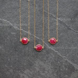 Shop Ruby Pendants! Gold Ruby Necklace / Red Ruby Neckalce / Ruby Choker / Ruby Jewelry / July Birthstone / Ruby Pendant / Layering Necklace | Natural genuine Ruby pendants. Buy crystal jewelry, handmade handcrafted artisan jewelry for women.  Unique handmade gift ideas. #jewelry #beadedpendants #beadedjewelry #gift #shopping #handmadejewelry #fashion #style #product #pendants #affiliate #ad