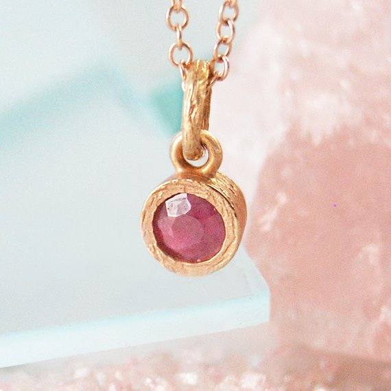Rose Gold Necklace, Gold Gemstone Necklace, Ruby Necklace, Red Gemstone, Birthstone Necklace, Round Pendant, Real Ruby Necklace, Silver Ruby