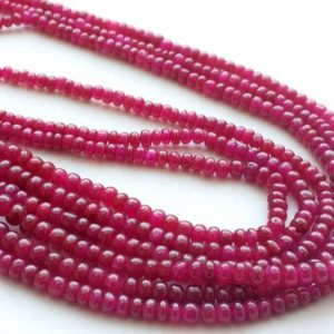 Ruby Beads, Ruby Jewelry, Ruby Necklace, Ruby Smooth Rondelles, 3mm To 4.5mm, 6.5 Inch Strand, 39 Pieces | Natural genuine rondelle Ruby beads for beading and jewelry making.  #jewelry #beads #beadedjewelry #diyjewelry #jewelrymaking #beadstore #beading #affiliate #ad