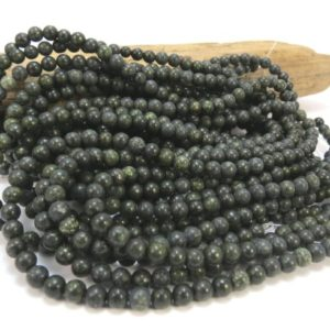"Russian Serpentine Beads, Natural Green 4mm Round, 16"" inch Strand, 4mm Green Beads, Beading Supplies, Item 770pm 