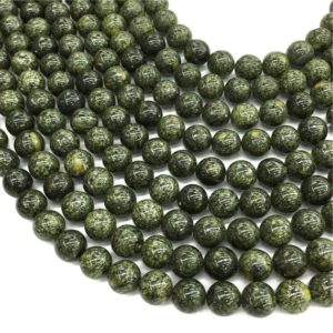 Russian Serpentine Round Beads,6mm 8mm 10mm 12mm Gemstone Beads ,Approx 15.5 Inch Strand | Natural genuine round Serpentine beads for beading and jewelry making.  #jewelry #beads #beadedjewelry #diyjewelry #jewelrymaking #beadstore #beading #affiliate #ad