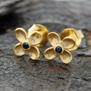 Shop Sapphire Earrings! Gold Flower Earrings, Sapphire Studs, Blue Sapphire Earrings, Gemstone Earring, Gold Studs, Gemstone Studs, Flower Stud Earrings, Boho Studs | Natural genuine Sapphire earrings. Buy crystal jewelry, handmade handcrafted artisan jewelry for women.  Unique handmade gift ideas. #jewelry #beadedearrings #beadedjewelry #gift #shopping #handmadejewelry #fashion #style #product #earrings #affiliate #ad